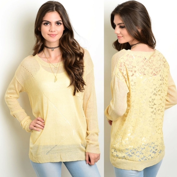f2e7a34cf9 Cream Long Sleeve Knit Sweater with Lace Back